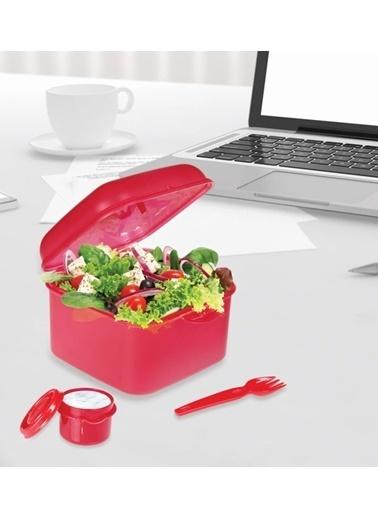 Herevin Çatal ve Sosluklu Kapaklı Salata Kabı Kırmızı Kırmızı